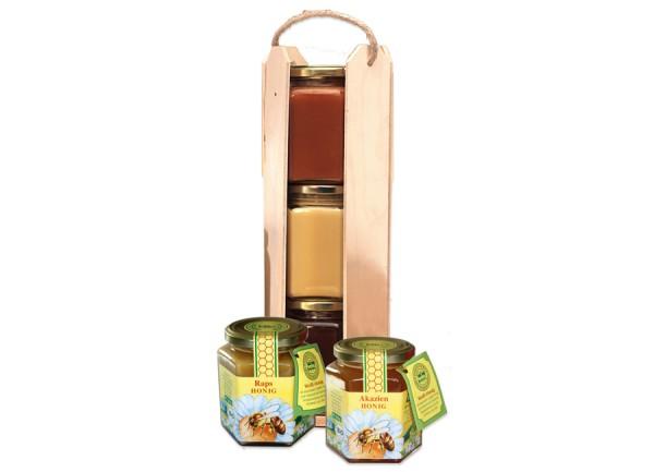 Honigständer mit 3 x 500g Gläsern